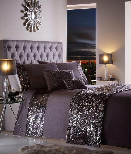 AUBERGINE PURPLE NEW STYLISH SEQUIN DUVET QUILT COVER SET LUXURY BEAUTIFUL BEDDING